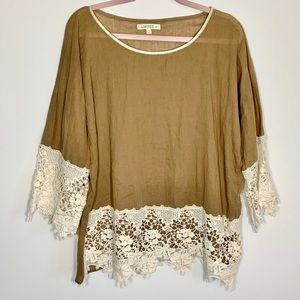 Umgee+ brown bell sleeves with lace tunic top: 2XL